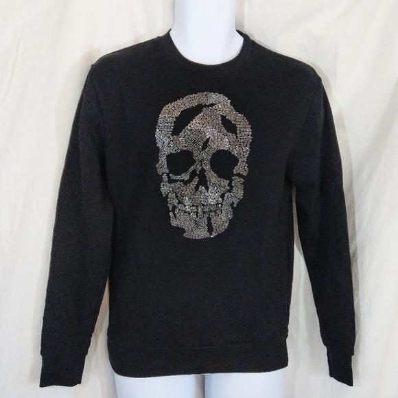 77922204 NWOT Zara Man Bead Embroidered Skull Sweatshirt. M_5a4aa39246aa7ccfce057f42